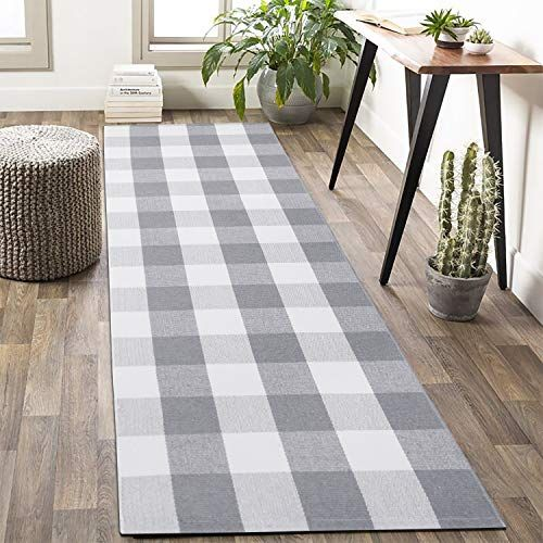 Buffalo Plaid Check Rug Runner 2 X 6 Grey Plaid Farmhouse Runner Rug Gray Area Runner Rug Checkered Washable Outdoo In 2020 Grey Rugs Rugs Contemporary Rug