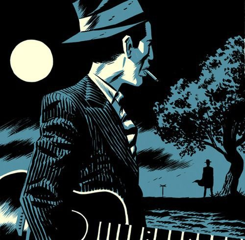 pickinpluckinstrummin:    Michael Cho, Two Tone Illustrations #12: Robert Johnson (Crossroads)