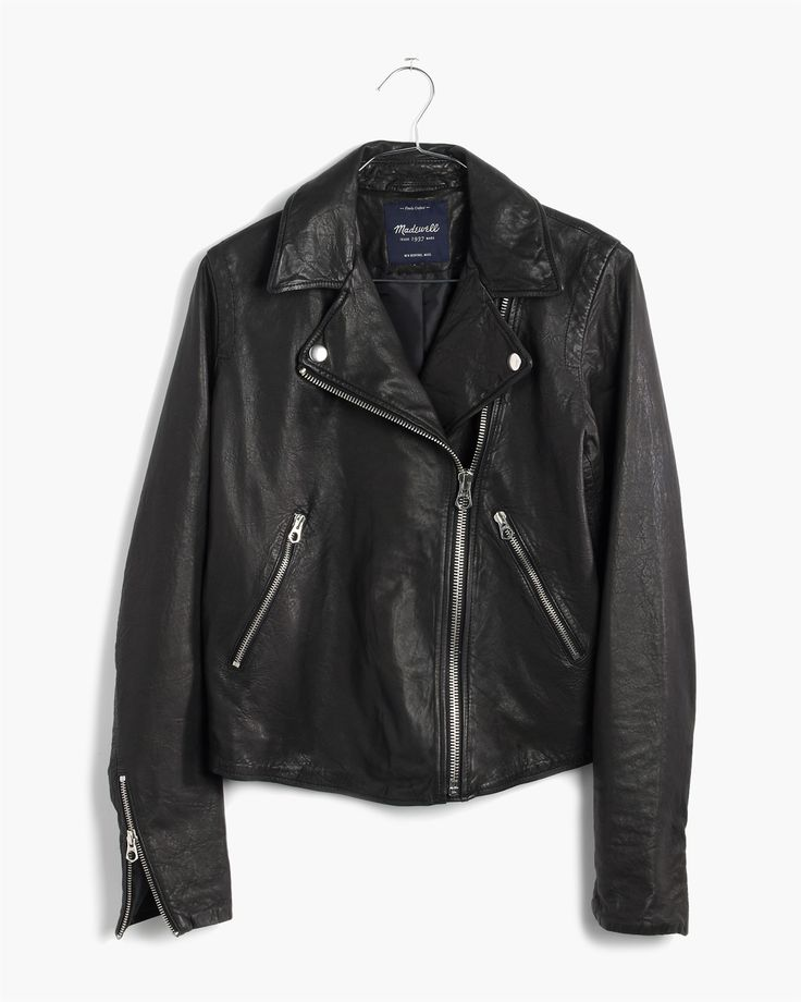 madewell washed leather motorcycle jacket.