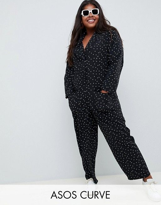 90e18fa1eb68 ASOS DESIGN Curve minimal boiler jumpsuit with pockets in star print ...