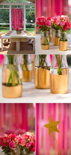 DIY liquid gold leaf painted bottles + painted-glittered table runner
