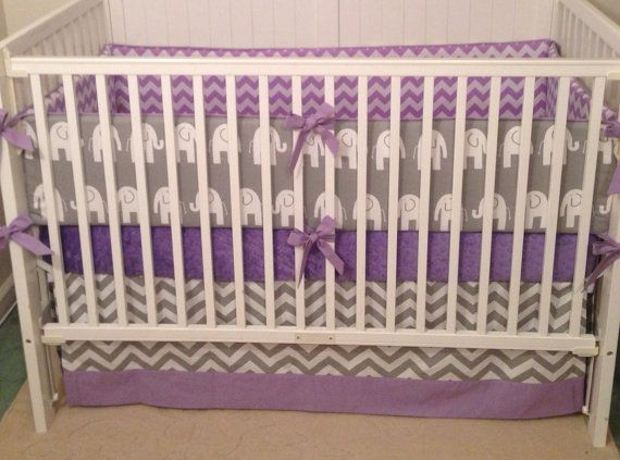 Crib Bedding Set Gray Lavender Elephant by butterbeansboutique, $335.00