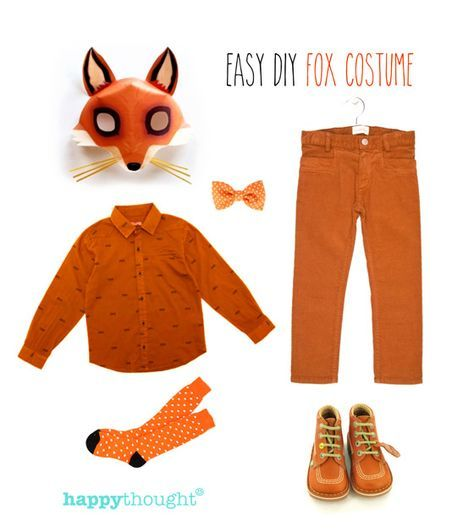 Fantastic, easy to throw-together fox costume with fox mask. One of 10 costume ideas - click to see more! https://happythought.co.uk/craft/animal-costume-ideas