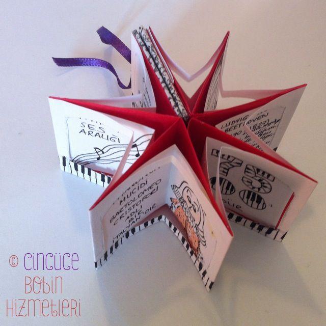 """""""Piyano Kitabı"""" Cincüce'nin minyatür kitapları / Yıldız kitap The Piano Book: Handmade miniature star book."""