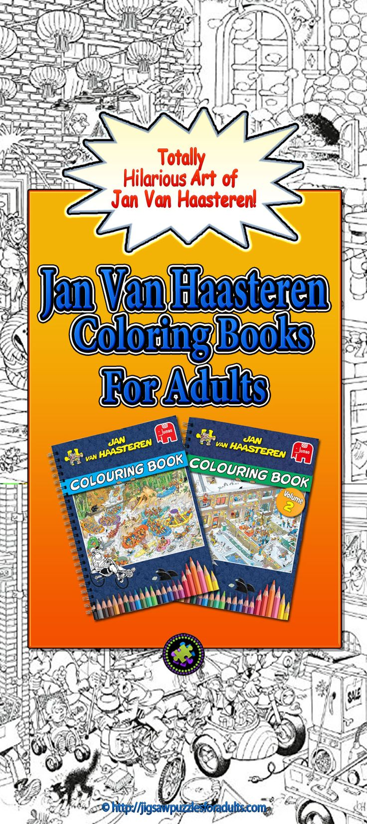 Jan Van Haasteren Coloring Book is perfect for anyone who is a fan of this artist's well known illustrations, artwork and jigsaw puzzles. A Must Have!