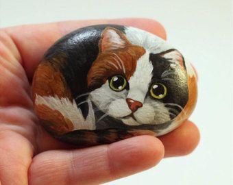 Tigre gato pintado rock piedras pintadas por PetRocksbyTheresa