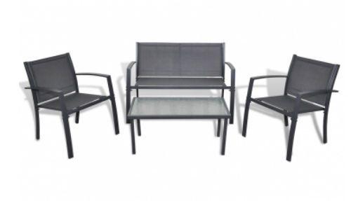 Garden Furniture Set Steel & Glass Table & Armchair & 2 Seat Bench…