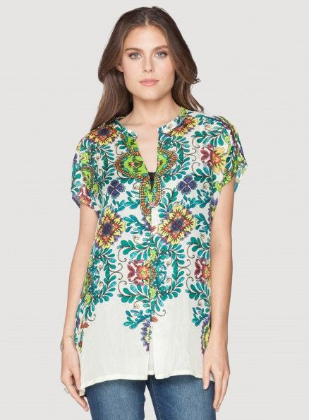 Johnny Was Botanical Print Silk Pleated V-Neck Blouse #floral #pattern #bohochic #springstyle