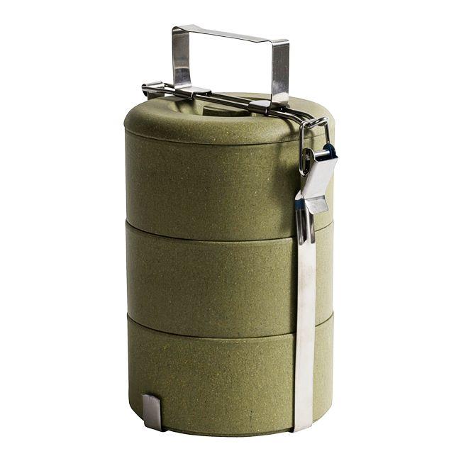 Stapelbox olijfgroen small - 3-laagsbox voor het opbergen en/of vervoeren van etenswaren. Gebruik het als opbergbox, lunchbox of neem het mee naar het strand of picknick etc. De box is gemaakt van biologisch afbreekbaar materiaal (natuurlijke bamboevezels) en kan in bovenste lade van de vaatwasser gereinigd worden. Afmetingen: 24 cm hoog, diameter 13 cm.