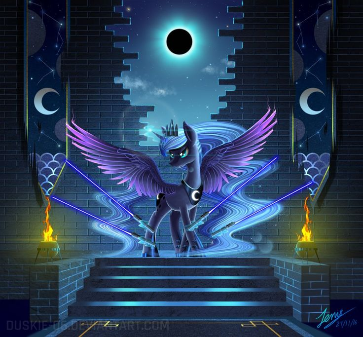 Princess Luna with light sabers?