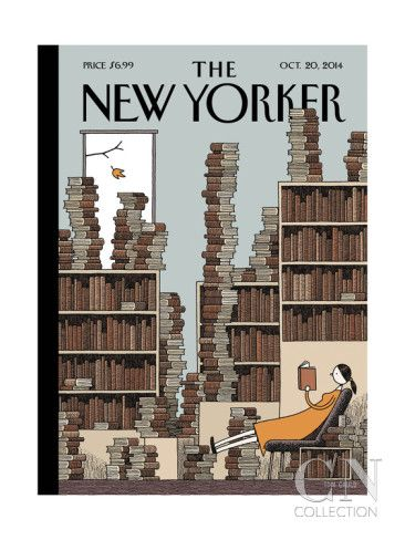 Fall Library - The New Yorker Cover, October 20, 2014 Poster Print by Tom Gauld at the Condé Nast Collection