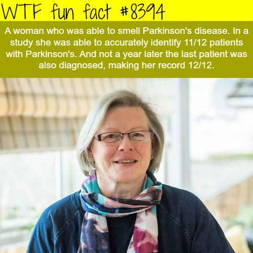 This woman can smell Parkinsons disease  WTF fun facts