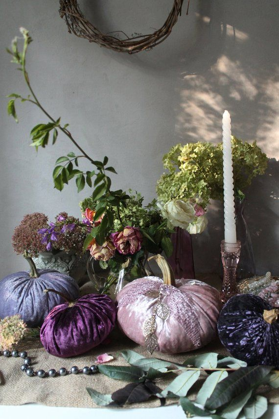 Fall Wedding Decor Thanksgiving Purple Pink Velvet Pumpkin