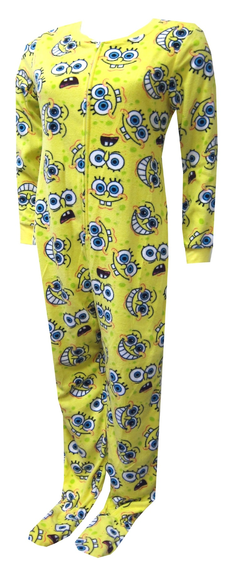 These pajama sets for women feature the many faces of SpongeBob on yellow micro polar fleece. These one piece footie pajamas have yellow ribbed cuffs at the wrist and have gripper bottoms. Machine washable and easy care. Junior Cut.