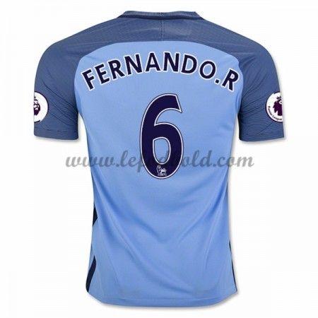 Billige Fodboldtrøjer Manchester City 2016-17 Fernando R. 6 Kortærmet Hjemmebanetrøje