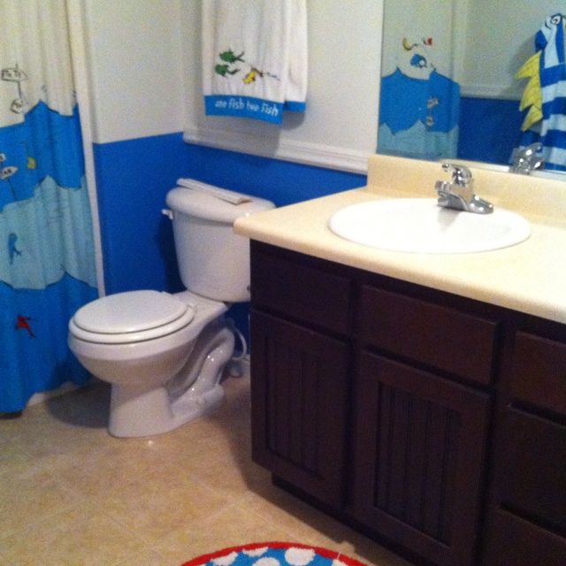 Dr. Seuss Bathroom-dark Blue-white Chair Rail-light Blue