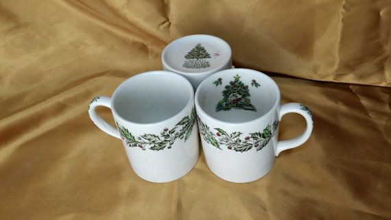 Set of 3 Johnson Bros Brothers Merry Christmas Mugs Cups - Hand Engraved Made in England - holly berries tree