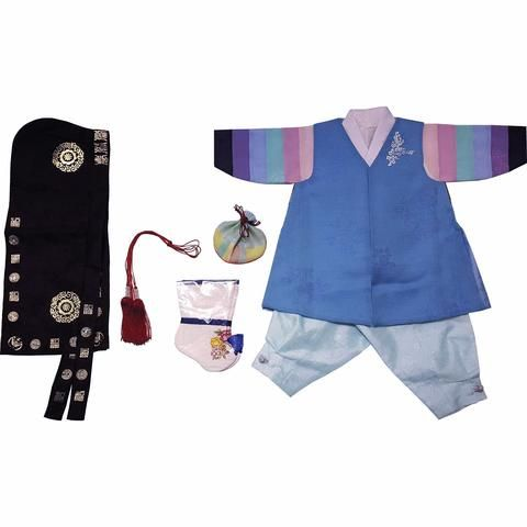 Blue with Silver Stamping and Light Blue - Boy Dol Hanbok Set - 7 Pieces