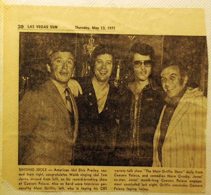 May 1971 - Elvis and Tom Jones with TV personality, Merv Griffin, and comedian Norm Crosby.