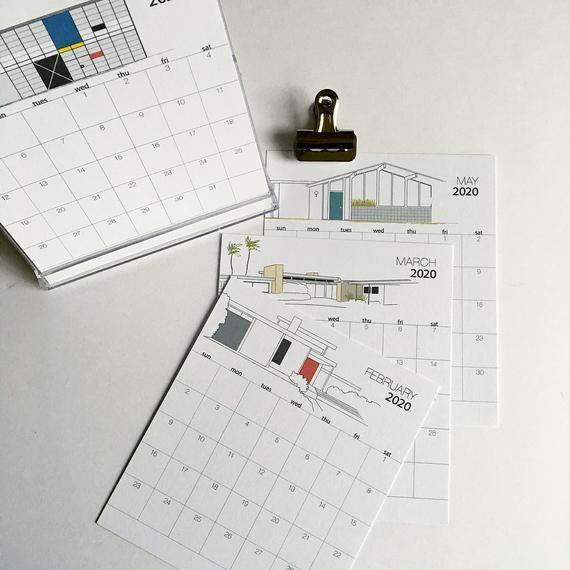 2020 Desk Calendar Midcentury Modern Architecture Desk Calendars