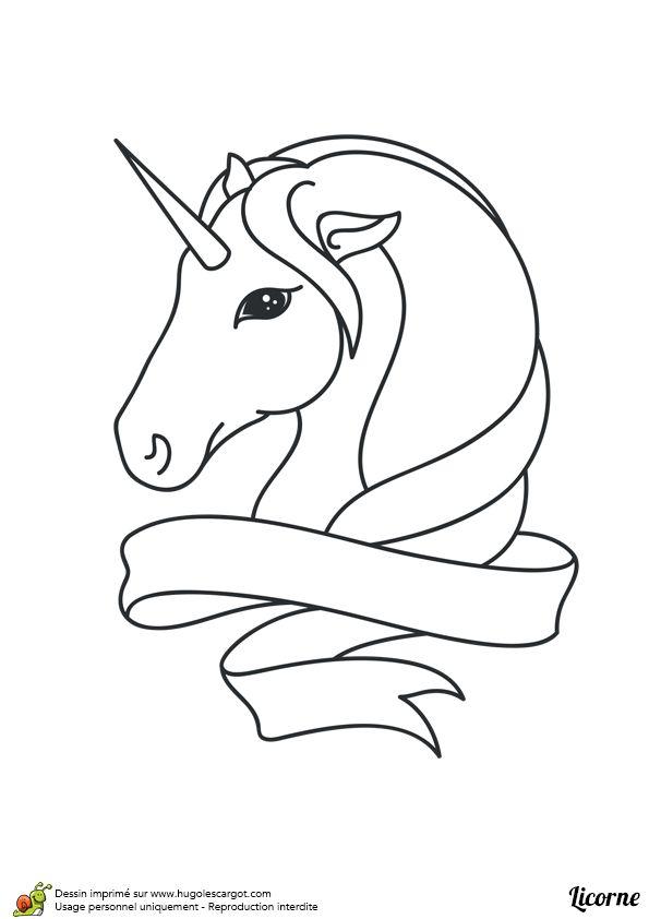 Portrait d'une tête de licorne stylisée, à colorier