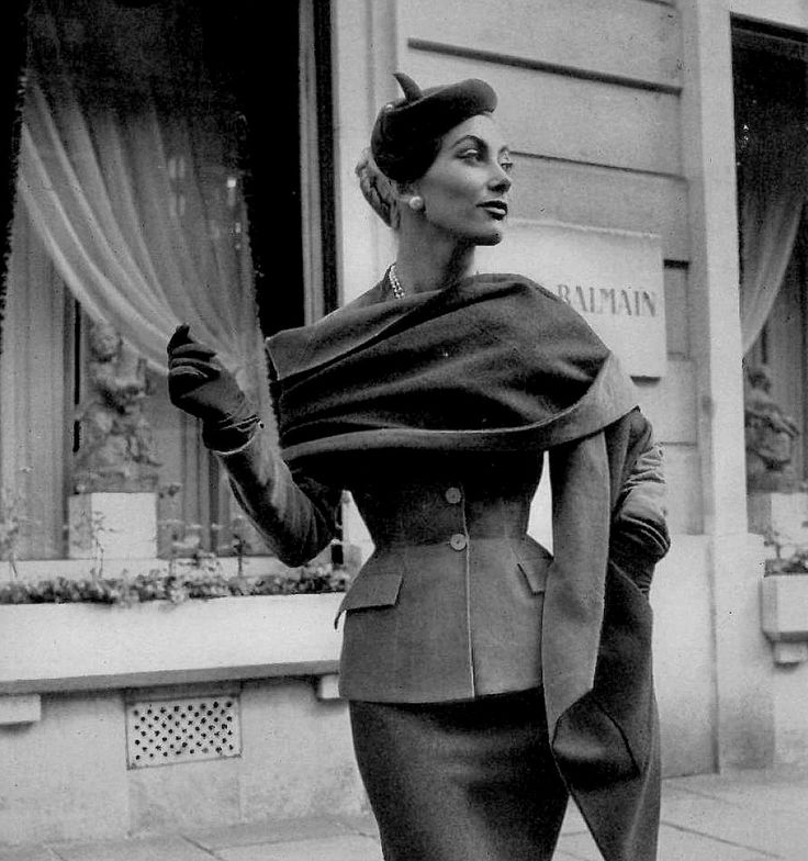 Geneviève in grey flannel suit with matching stole by Pierre Balmain, photo by Georges Saad, Paris, 1953