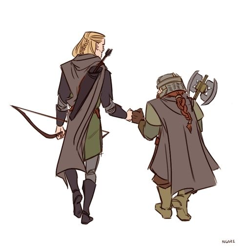 Original fist bump: Legolas tried to punch Gimli at the same time that Gimli tried to punch Legolas. They hit eachother's fists and got distracted from being mad at each other<< head canon accepted