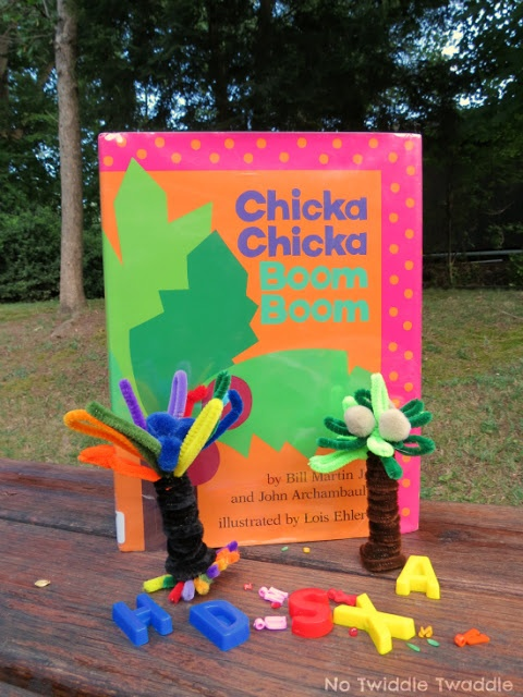 Chicka chicka boom boom alphabet bin and pipe cleaner tree