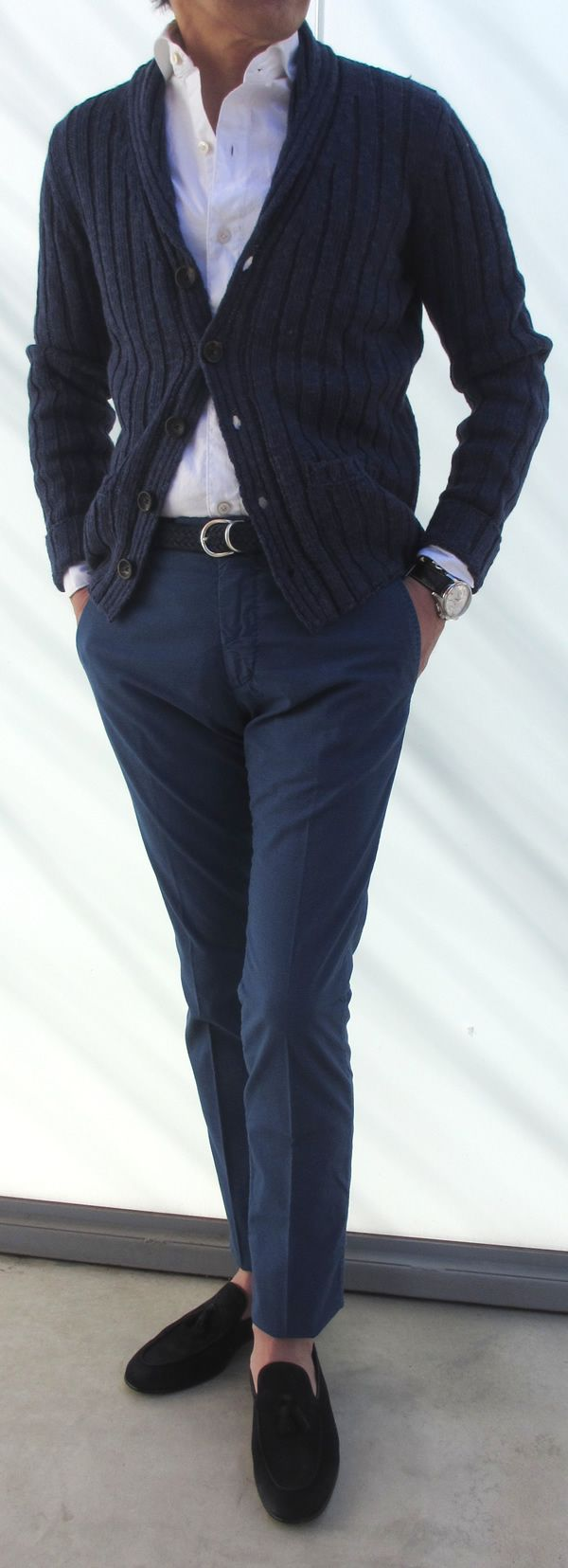 Navy shawl collar cardigan, white shirt, navy pants, black velvet slippers