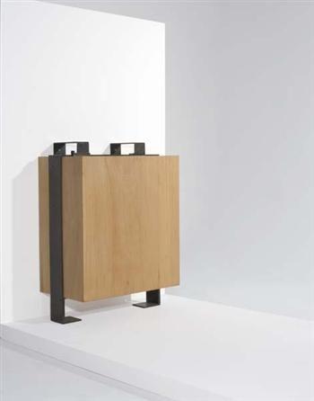 Pierre Chareau | Cupboard, model no. MA 371, ca. 1927  Beech-veneered wood, mahogany, iron.  38 1/4 x 29 1/4 x 15 7/8 in. (97.2 x 74.3 x 40.3 cm)