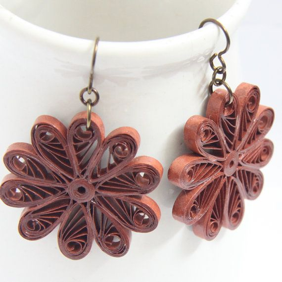 Large Flower Earrings - Handmade Paper Quilled Rust Color Eco Friendly Jewelry Artisan Jewelry hypoallergenic
