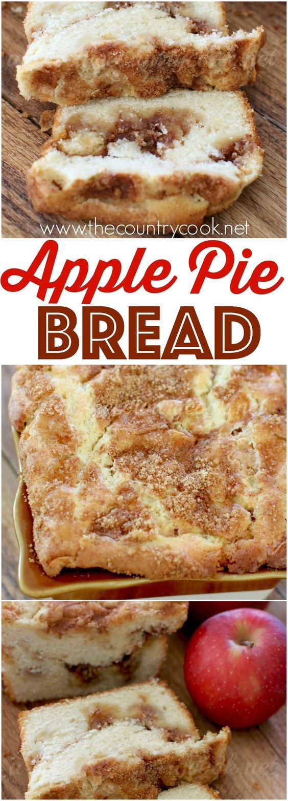 Apple Pie Bread recipe via The Country Cook. It is a sweet dessert bread filled with a super yummy cinnamon apple filling topped with fresh apples. Easy homemade goodness!