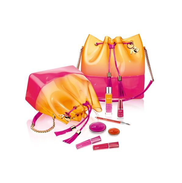 The limited edition Grace K bag, including a Trasparenze make-up kit, is available online and in Milan's flagship store