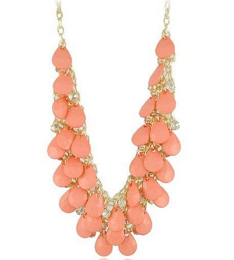 J Crew Inspired Statement Necklace - Coral, Peach, Pink, Bridesmaid's Gift or Mother's Day Gift. $15.00, via Etsy.