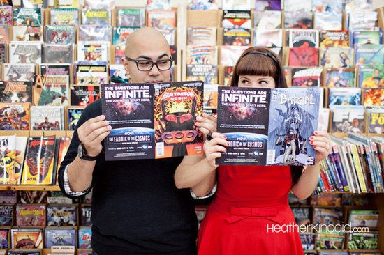 Comic book engagement session by photographer Heather Kincaid #engagement #photography #wedding: Photo Ideas, Engagement Photos, Books Engagement, Cute Ideas, Comic Books, Books Stores, Engagement Photography, Engagement Shoots, Photo Shoots