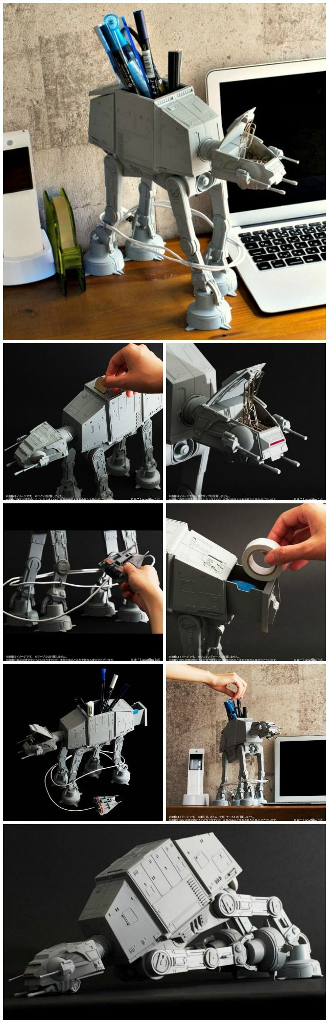 """The AT-AT Multi Stand is a 10"""" tall, highly detailed and poseable desk caddy that comes with a cable organizer that wraps the cable around its legs."""