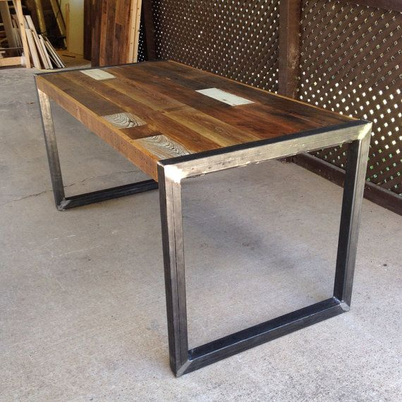 Deon Industrial Style Pattern Metal Rectangle Coffee Table: Reclaimed Wood Table Or Desk (square Metal Legs