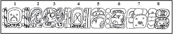 """Sarcófago do governante maia de Palenque tem as respostas sobre nascimento, morte e anos de reinado. lá, encontramos o seu nome. 1- é a data 8 Ahau- 2- é o Pop data de 13 3- é o glifo para o nascim.. Indica que o Rei nasceu em 8 de Ahau 13 Pop, o equivalente a 603 AD. 4- é a data de 6 de Etz'nab- 5- é a data de 11 Yax 6- mostra 4 ciclos de 7.200 dias, cerca de 80 anos, a idade no momento da morte do monarca.-7- é o glifo para a morte.-8- é o nome do soberano, que significa """"protetor de…"""