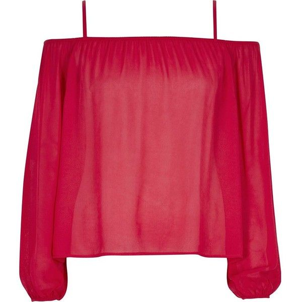 River Island Red bardot top (£36) ❤ liked on Polyvore featuring tops, shirts, bardot / cold shoulder tops, red, women, women tops, summer shirts, shoulder cut out shirt, henley tops and red shirt