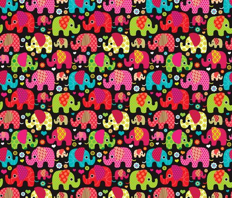 Colorful Indian Elephant Parade Fabric By