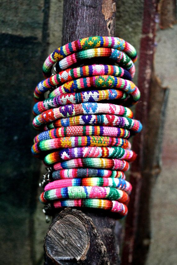 Rainbow Vintage Peruvian Textile Bracelets by PalomitaJewellery