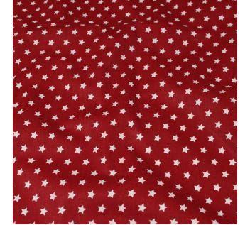 Bavlněné plátno červené, bílé hvězdy, š.140