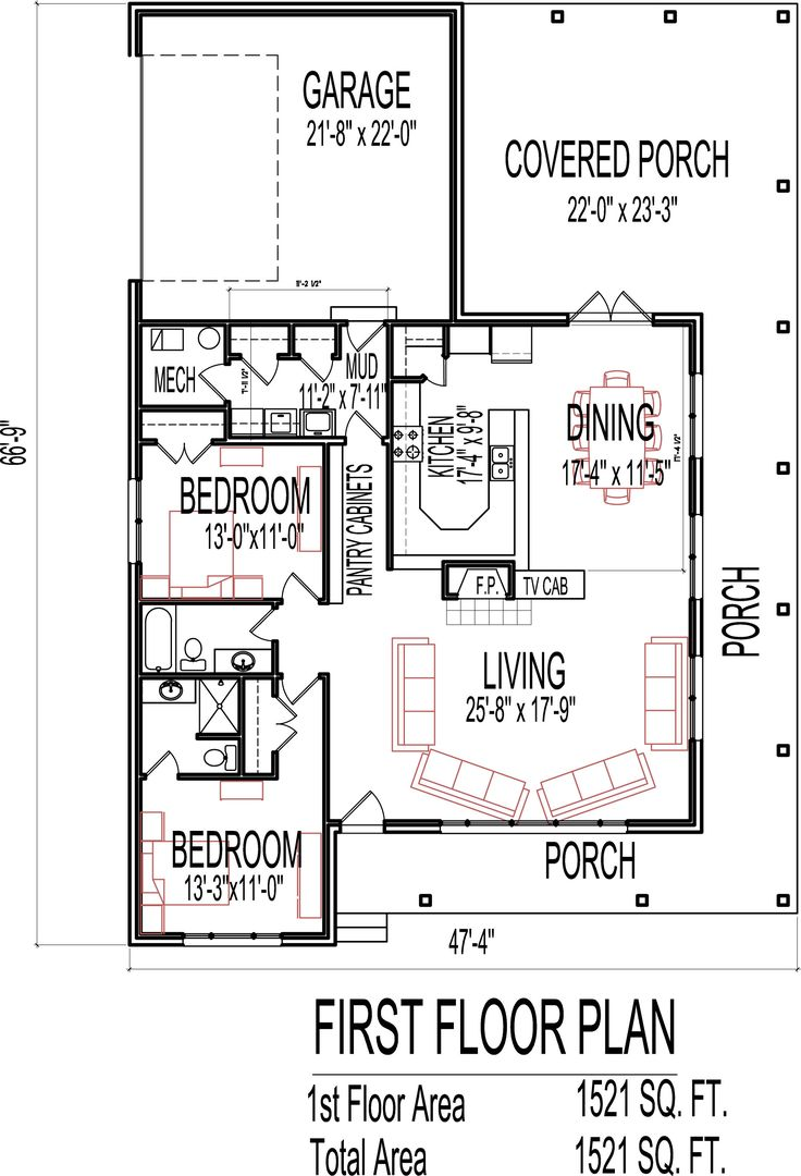 1500 Square Foot House Plans Open Concept - 1 story 2 bedroom house plans
