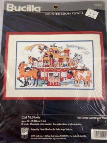Bucilla Old McNoah Noahs Ark Counted Cross Stitch Kit 41541 NIP Animals 16x10 in Crafts, Cross Stitch, Cross Stitch Kits | eBay