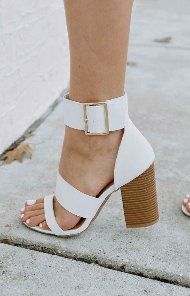 fbfc65d357e Shelby Strap Heels   White in 2019