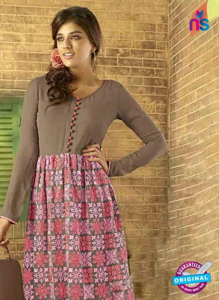 NS12071 Brown and Pink Designer Tunic