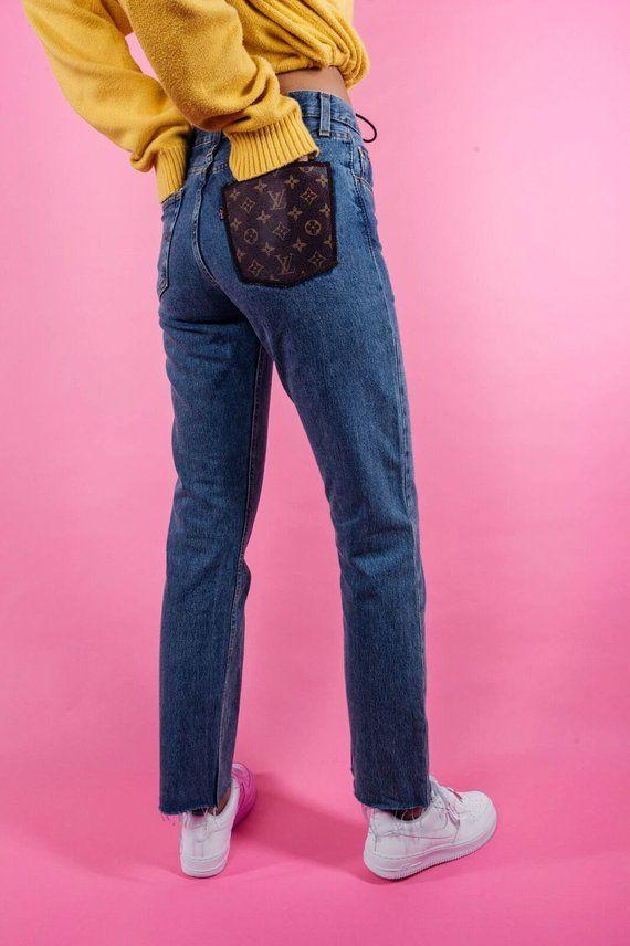 2fb0008b2 Louis Vuitton Reworked Jean Trousers LV Pants LV top Louis | Etsy ...