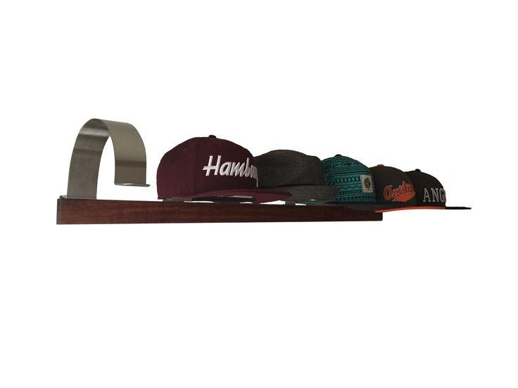 Cap Halter Set aus Edelstahl mit Massivholzleiste