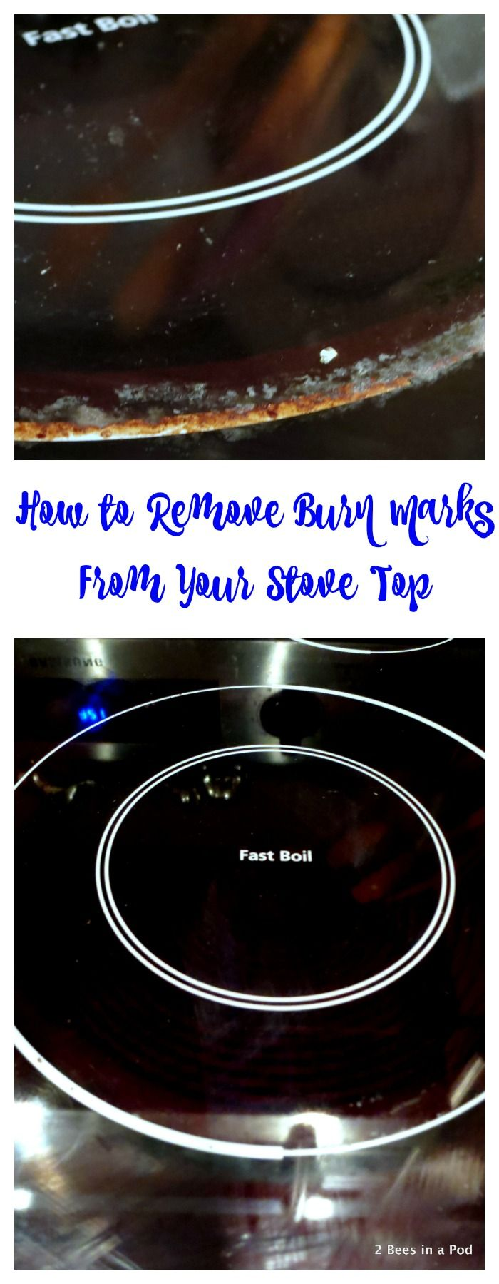 How to Remove Burn Marks from Your Glass Stovetop — Only 2 ingredients to make a bubbling glass cleaner! | 2 Bees in a Pod