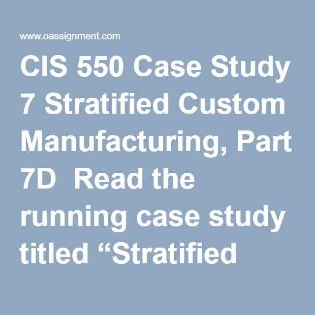 "CIS 550 Case Study 7 Stratified Custom Manufacturing, Part 7D  Read the running case study titled ""Stratified Custom Manufacturing"" located in Part 7D of the textbook. Write a three to four (3-4) page paper in which you: Select a U.S. state or another national government as a point of reference and determine which laws were violated in this situation. Identify one (1) of the primary problems found during the implementation planning for the e-Discovery project. Explain how a corporation…"